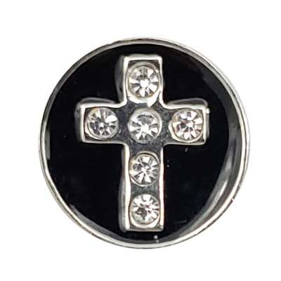 Black Enamel Cross Treasure Snap