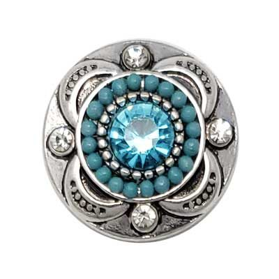Beaded Turquoise Treasure Snap - Light