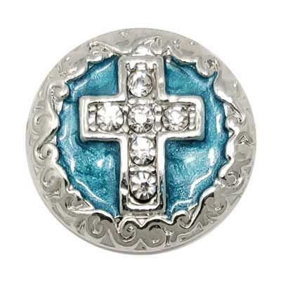 Silver-tone Turquoise Cross Treasure Snap