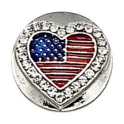 USA Flag Heart Treasure Snap