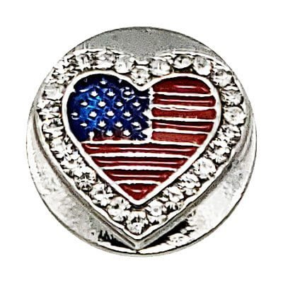 USA Flag Heart Treasure Snap