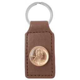 Brown Leather Penny Key Ring