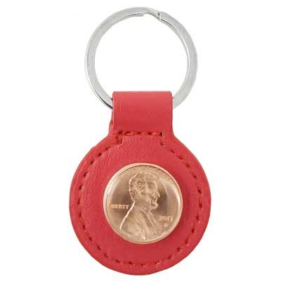 Red Leather Penny Key Ring