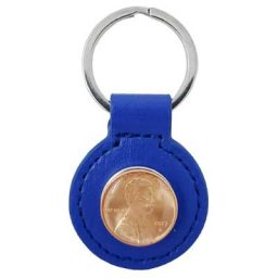 Blue Leather Penny Key Ring