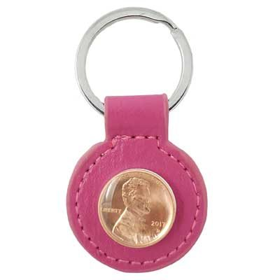 Fuchsia Leather Penny Key Ring