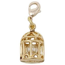 Gold-tone Bird Cage Pearl Charm
