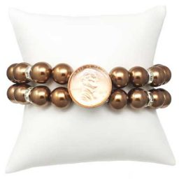 Bronze Pearl Stretch Snap Bracelet