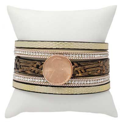 Glitzy Leather Magnetic Snap Bracelet