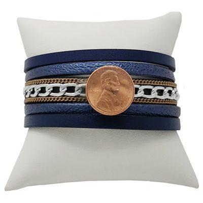 Blue Leather Chain Magnetic Snap Bracelet