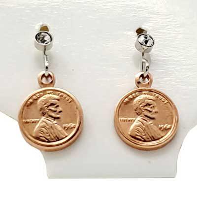 Copper Mini Penny Earrings
