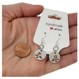 Bird Copper Mini Penny Earrings
