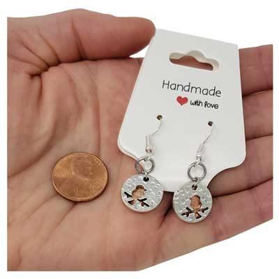 Bird Copper Mini Penny Earrings