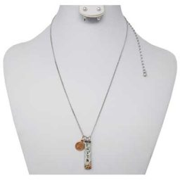 Faith Mini Penny Silver-Tone Necklace with Earrings