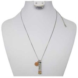 Hope Mini Penny Silver-Tone Necklace with Earrings