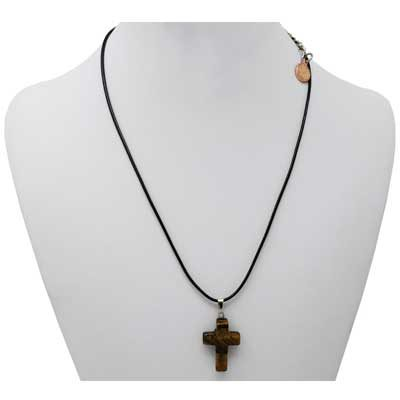 Tiger's Eye Cross Necklace with Mini Penny