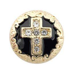 Gold-Tone Black Enamel Cross Treasure Snap
