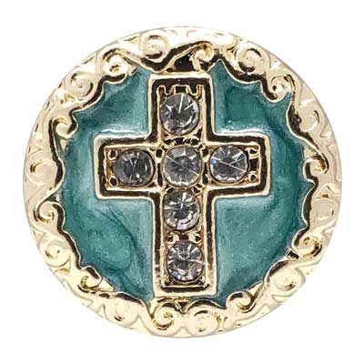 Gold-tone Turquoise Cross Treasure Snap