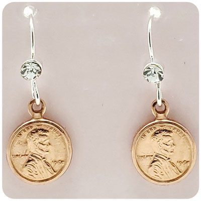 SWEETPEAs Copper Penny Crystal Earrings