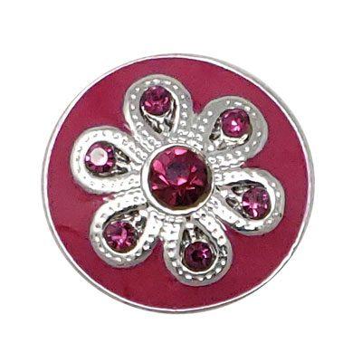 Flowered Dark Pink Enamel Treasure Snap