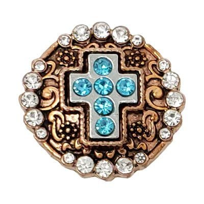 Turquoise, Crystal Encrusted Copper-Tone Cross Treasure Snap