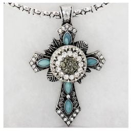 Ornate Cross Slider Pendant Snap Necklace