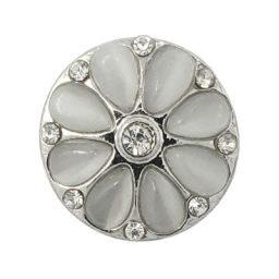 Silver Gray Raised Petals Treasure Snap