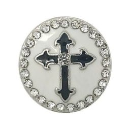 White Enamel Cross Treasure Snap