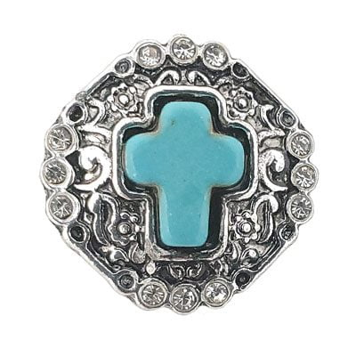 Turquoise Silver-Tone Cross Treasure Snap