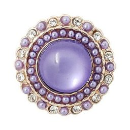 Beaded Lavender Rose Gold-tone Treasure Snap