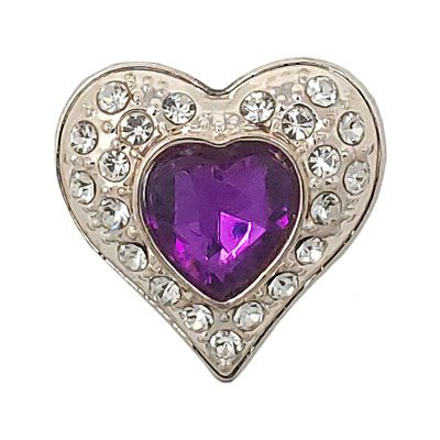 Fuchsia Crystal Heart Treasure Snap