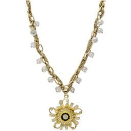 High Glamor Crystal Flower Magnetic Gold-Tone Snap Necklace
