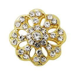 Crystal Loaded Gold-tone Flower Treasure Snap