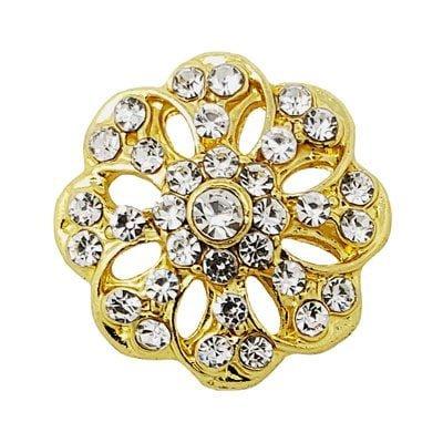 Crystal Loaded Gold-tone Flower Treasure Snap