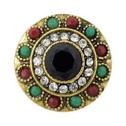 Multi-colored Brass-tone Treasure Snap