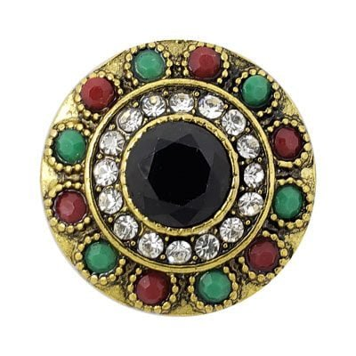 Multi-colored Brass-tone Treasure Snap