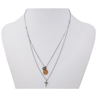 Solitaire and Cross Mini Penny Necklace