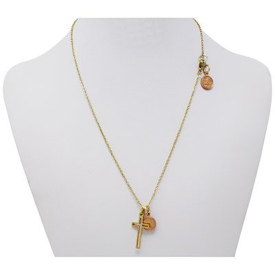 Gold-Tone Cross Mini Penny Necklace