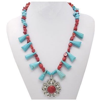 Red Sponge Coral and Turquoise SNAP Necklace