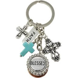 Faith Cross BLESSED Key Ring