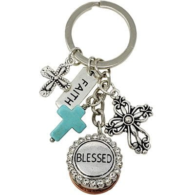 Faith Cross BLESSED Key Ring