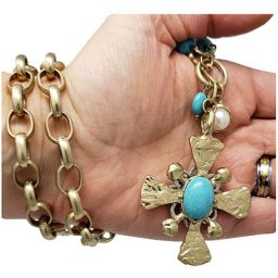 Chunky Turquoise Dual Sided Cross Penny Necklace