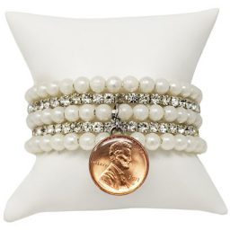Pearl and Clear Crystal Snap Bracelet