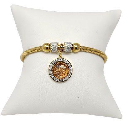 Gold-Tone Mini Penny Tree of Life Magnetic Bracelet