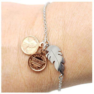Mini Penny Feather Bracelet or Anklet
