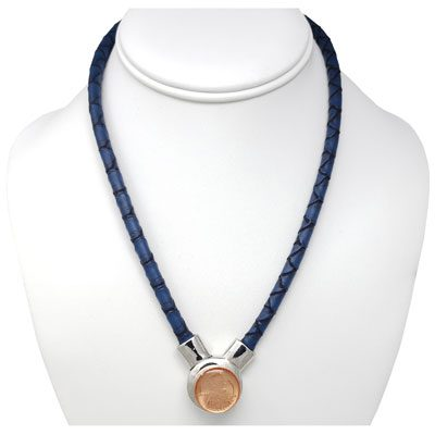 Dark Blue Faux Leather Magnetic SNAP Choker