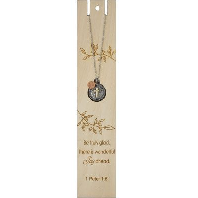 Be Truly Glad Bookmark with Cross Necklace