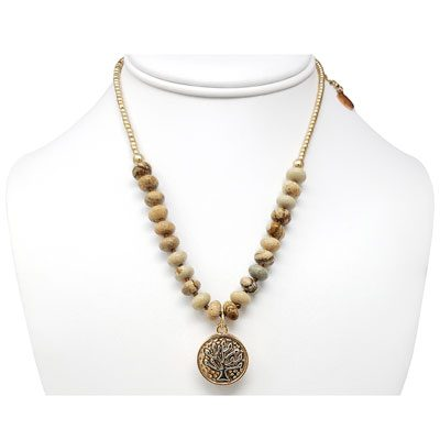 Tree of Life Gold-Tone Beaded SNAP Necklace