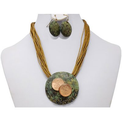 Copper Patina TWO Penny Rope Necklace with Earrings