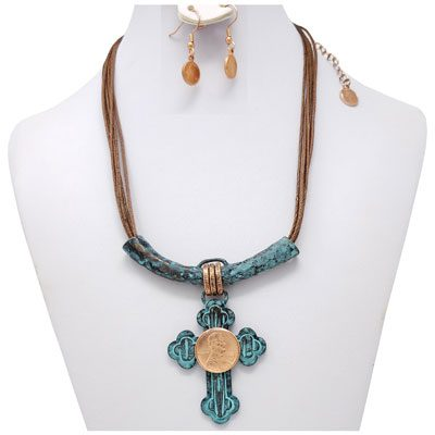 Copper Patina Cross Slider Penny Rope Necklace with Earrings