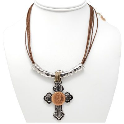 Silver-Tone Cross Slider Penny Rope Necklace